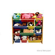 Mind Reader Toy Storage Organizer with 12 Storage Bins - Brown