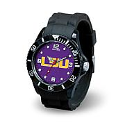 NCAA Team Logo Spirit Black Rubber Strap Sports Watch - LSU