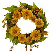 "Nearly Natural 22"" Golden Sunflower Wreath"