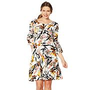 Nina Leonard Bell-Sleeve Printed Trapeze Dress