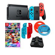 "Nintendo Neon Switch Bundle w/""Mario Kart 8 Deluxe"" & 2 Joy-Con Wheels"