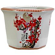 "Oriental Furniture 10"" Cherry Blossom Flower Pot"