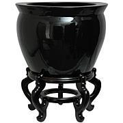 """Oriental Furniture 14"""" Solid Black Porcelain Fishbowl"""