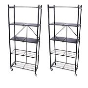 Origami 2pk of 5-Tier Pantry Racks with Wooden Shelves