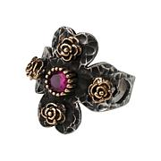 Ottoman Silver Bronze-Accented Ruby Hammered Cross Ring