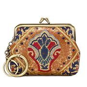 Patricia Nash Borse Leather Embroidered Coin Purse