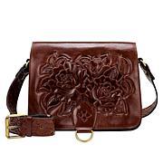 Patricia Nash Ilina Rose Tooled Leather Crossbody Bag