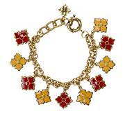"Patricia Nash Reversible Enamel Floret 9"" Charm Bracelet"