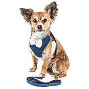 Pet Life Mesh 2-in-1 Adjustable Dog Harness-Leash with Pom-Pom Bow Tie