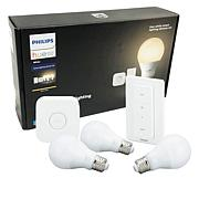Philips Hue Smart LED Lighting Bundle with Dimmer Switch & 3 Bulbs