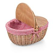 Picnic Time Country Basket - Red & White Gingham Pattern