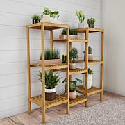 Pure Garden Multi-Level Freestanding 9-Shelf Bamboo Plant Stand