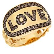 Rarities Gold-Plated 0.50ctw Champagne Diamond Love Ring
