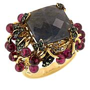 """Rarities Gold-Plated Sterling Silver Multigem """"Floral Garden"""" Ring"""