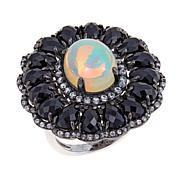 Rarities Opal, White Zircon & Black Spinel Flower Ring