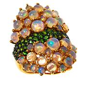 Rarities Sterling Silver Gold-Plated Chrome Diopside & White Opal Ring