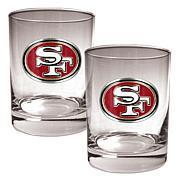 San Francisco 49ers 2pc Rocks Glass Set