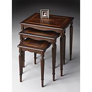 Set of 3 Accent Tables with Starburst Inlay