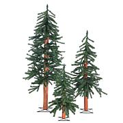 Set of 3 Unlit Alpine Trees