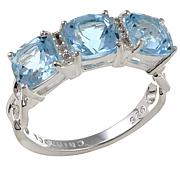 Sevilla Silver™ Gemstone and White Topaz 3-Stone Ring