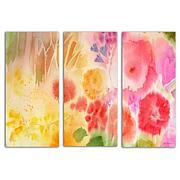 """Sheila Golden """"Wood Flower"""" 3-Panel, Giclée-Print Set"""
