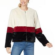 Skinnygirl Commentary Faux Fur Zip-Up Jacket