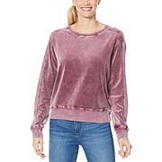 Skinnygirl Snow Wash Velour Pullover Sweatshirt