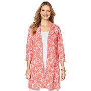 Slinky® Brand Printed Travel Stretch Trench Coat
