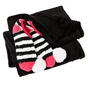 Soft & Cozy Plush Throw and Pompom Socks Set