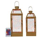 South Street Loft Set of 2 Lanterns with Fairy Lights