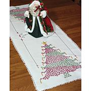 Stamped Lace Edge Table Runner - Christmas Tree