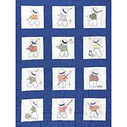 Stamped White Nursery Quilt Blocks 9-inch x 9-inch