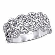 Sterling Silver 0.20ctw Diamond Pavé Filigree Ring