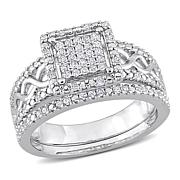 Sterling Silver 0.32ctw Diamond Square Halo Infinity Ring 2pc Set