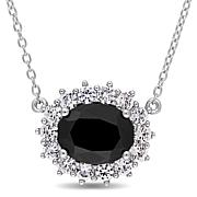 Sterling Silver Black Sapphire and Created White Sapphire Necklace