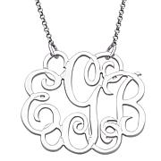 Sterling Silver Fancy 3-Initial Monogram Necklace