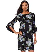 Tash + Sophie Textured Dress with Bell Sleeve