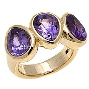 Technibond® 4.03ctw 3-Stone Pear-Shaped Amethyst Ring