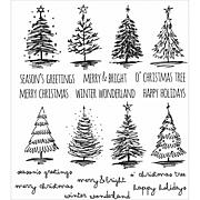 "Tim Holtz Cling Stamps 7"" x 8.5"" - Scribbly Christmas"