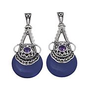 Traveler's Journey Blue Agate and Amethyst Earrings