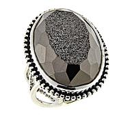 Traveler's Journey Window Drusy Black Agate Sterling Silver Ring