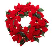 """Winter Lane 24"""" Lighted Poinsettia Wreath with 6-Hour Timer"""