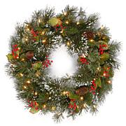 Winter Lane Wintry Pine Wreath with Clear Lights