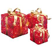 """Winter Lane 6""""/8""""/10"""" Assorted Red Sisal Gift Boxes"""