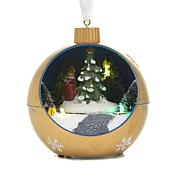 Winter Lane Moving Lighted Ornament - Gold