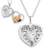 """With You Lockets™ Sterling Silver """"Katharine"""" White Topaz Heart Locket"""