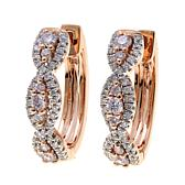 14K Rose Gold 0.61ctw Pink and White Diamond Hoops