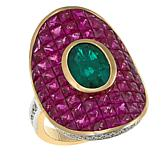 14K Yellow Gold 9.55ctw Emerald, Ruby and Diamond Ring