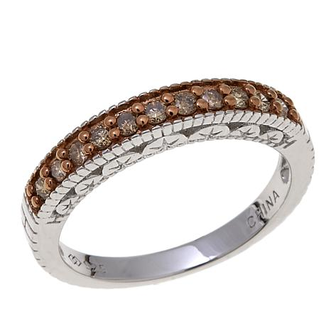 0.27ctw Colored Diamond Sterling Silver Band Ring