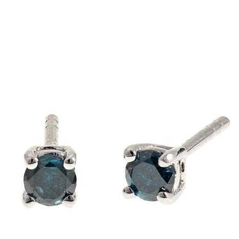 0.27ctw Colored Diamond Sterling Silver Stud Earrings